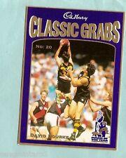 CADBURY AFL CARD #20  DAVID BOURKE, RICHMOND TIGERS