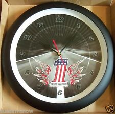 "New Genuine Harley Davidson 13"" Number One Logo Sound Boxed Wall Clock Biker"