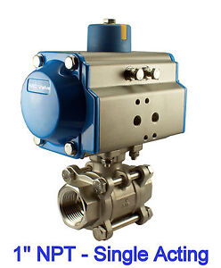 """1"""" Inch Pneumatic Normally Open Single Acting Air Actuated Stainless Ball Valve"""