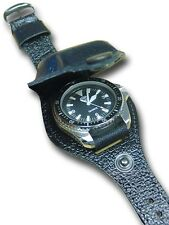 1 BLACK LEATHER WATCH STRAP & COVER FOR MILITARY WATCH [80041]