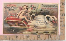 BUCHAN'S CARBOLIC TOILET SOAP SWAN CHERUB BOSTON MA  VICT.ADVERTISING TRADE CARD