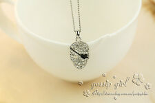 New 18K White Gold Filled Pirate Skull Shiny Swarovski Crystal Pendant Necklace