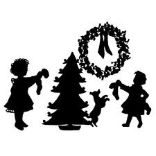 DECORATING the TREE unmounted rubber stamp, Christmas, children silhouette #7