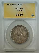 1946 Iowa Silver Half Dollar Commemorative Coin ANACS MS-65 Toned