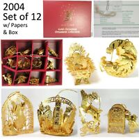 2004 Set of 12 Danbury Mint 23k Gold Plated Christmas Collection Ornaments w Box