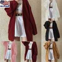 Womens Ladies Open Front Long Sleeve Knitted Cardigan Sweater Pocket Coat Jacket