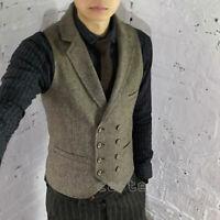 HOT Mens British Style Wool Blend Lapel Collar Tweed Casual Vest Waistcoat S-4XL