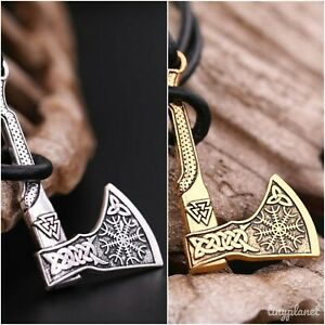Viking Thor Axe Wrap Bracelet Braided Leather Norse