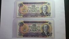 BANK OF CANADA 2 1971 $ 10 CANADIAN BANK NOTES 2 CONSECUTIVE 3&4 DIGIT NOTES