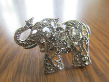 Elephant Finger Knuckle Ring Metal Stretch Band Silver Bling Rhinestone