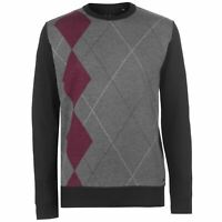 Pierre Cardin Mens Argyle Crew Knit Jumper Sweater Pullover Long Sleeve Neck