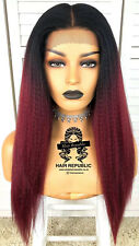 Synthetic Lace Front Afro Kinky Yaki Natural Hair Looking Red Wig