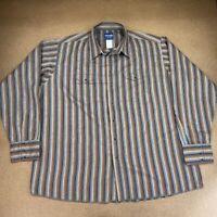 Wrangler Men's Size 3XT Brown Gray Striped Long Sleeve Pearl Snap Western Shirt