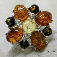 AWESOME MULTI COLOR NATURAL BALTIC AMBER 925 STERLING SILVER RING SIZE 5-10