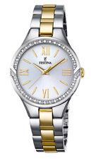 Festina f16918/1 elegante señora reloj pulsera de acero inoxidable bicolor con piedras nuevo