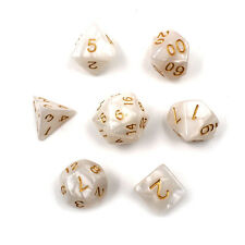 Set of 7 Sided Gem Dice Die For RPG Dungeons & Dragons DND D&D Set White