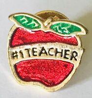 #1 School Teachers Pet Red Apple Pin Badge Rare Vintage (F12)