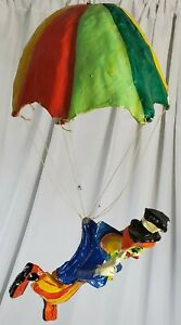 Vintage Paper Mache Clown Clown with Glossy Rainbow Parachute