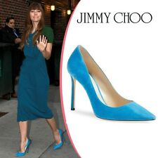 NIB $595 Jimmy Choo Romy Suede Heels Pumps Shoes sz 39 9 Blue