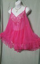VENTURA SEXY PINK NYLON LINED BABY DOLL NIGHTGOWN  1X WOMENS PLUS SIZE