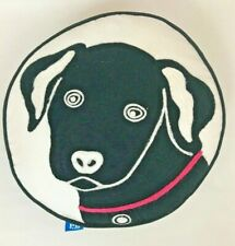 Pottery Barn Teen Throw Pillow Dog Black Lab Round Embroidered Decorative 14""