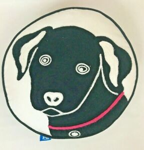 """Pottery Barn Pillow Dog Black Lab Round Embroidered Decorative Throw White 14"""""""