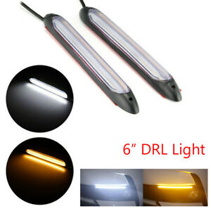 2X LED Strip Light 6in DRL Daytime Running Sequential Turn Signal Headlight Lamp