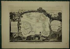 1856 MAP ~ FRENCH COLONIES AMERICA ISLANDS ST MARTIN GUIANA NEWFOUNDLAND