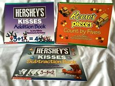 3 HERSHEY KISSES & REESES PIECES Books Addition Subtraction & Count By Fives NEW