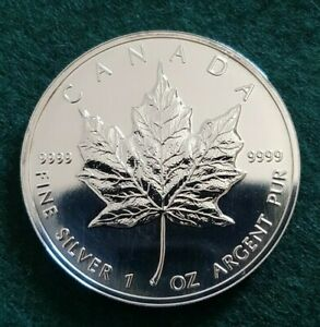 1995 Royal Canadian Mint, Maple Leaf, $5, BU Fine .9999 Silver Coin