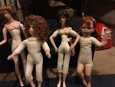 """Lot of 4 Vintage/Antique 18"""" - 22"""" Porcelain Dolls -1990s That Needs Dressing."""