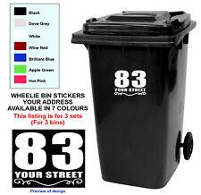 Set of 3 Wheelie Bin Custom Numbers & Road Vinyl Sticker 7 Colours Personalised