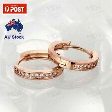 Elegant 18K Rose Gold Filled Huggie Hoop Earrings With Zircon