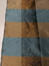 blue brown silk check  fabric by the yard