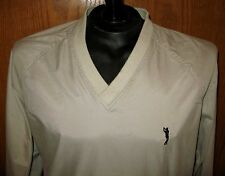 Munsingwear Golf Pullover VNeck Windbreaker Beige Jacket L/S Shirt Size M Medium
