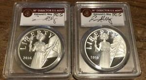 2016 W S Silver American Liberty PCGS PR 69 DCAM Two Coins Edmund Moy Signature