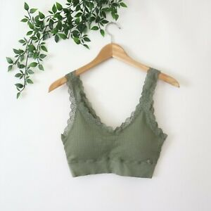 Lucky Brand Women's Super Soft Lace Trim Padded Cute Bra Top L Large Green