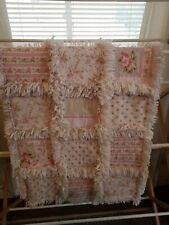 "Vintage Rag Quilt Shabby Chic Baby Quilt Fleece Reverse 35""×35"" handmade"