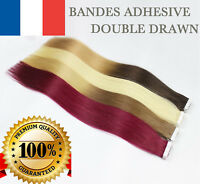 7A 100% EXTENSIONS DE CHEVEUX TAPE BANDES ADHESIVE POSE A FROID NATUREL 7AAA