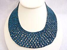 Dark Turquoise Blue Rhinestone Necklace Choker, Costume Fashion Jewelry