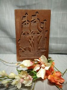 LARGE RARE  Antique Vtg Wooden Cookie Mold Tall Ship Springerle Mould Chocolate