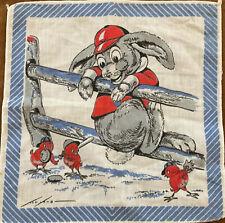 Child's Tom Lamb Red Baseball Bunny On Fence And Birds Blue Edge Handkerchief