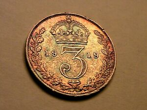 1919 Great Britain Threepence Nice AU Superb Toning w Luster Silver 3P UK Coin