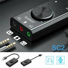 USB Sound Card External Stereo  Splitter Converter Volume Control Sound Adapter