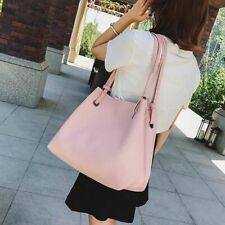 Faux Leather Bag Set Women Big Casual Shoulder Handbag Zipper Solid Color Soft