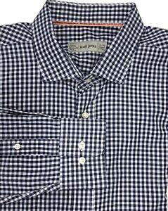 Scott James Men's XL 17 1/2 37/38 Navy White Gingham Plaid Button Shirt Turkey