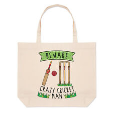 Beware Crazy Cricket Man Large Beach Tote Bag - Funny Sport