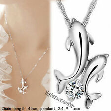 Wonderful Silver Double Dolphin Rhinestone Short Chain Pendant Necklace TRO