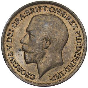 1913 PENNY - GEORGE V BRITISH BRONZE COIN - V NICE