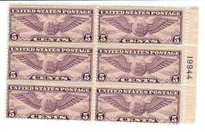 US Scott #C12 5 Cent Winged Globe Air Mail Plate Block Mint F